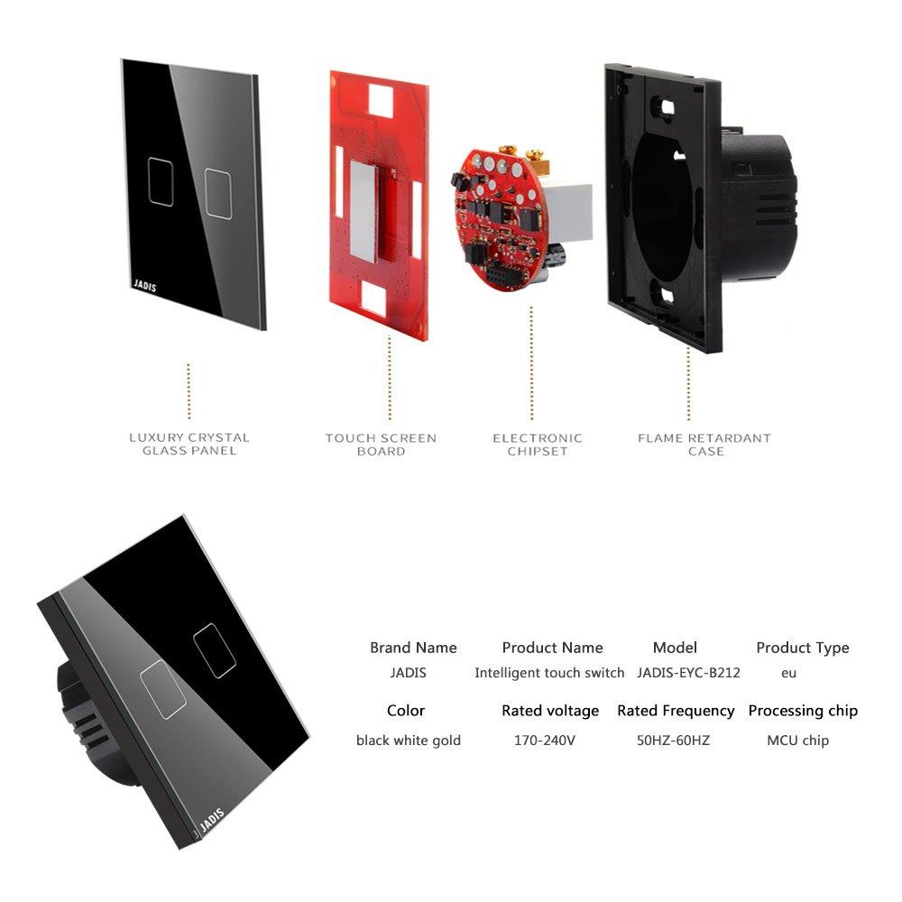 WiFi Smart Touch Protector de interruptor, UE estándar Panel táctil/Control Remoto Inteligente Luz Interruptor De Pared 2 Gang 3 way PANEL de cristal ...