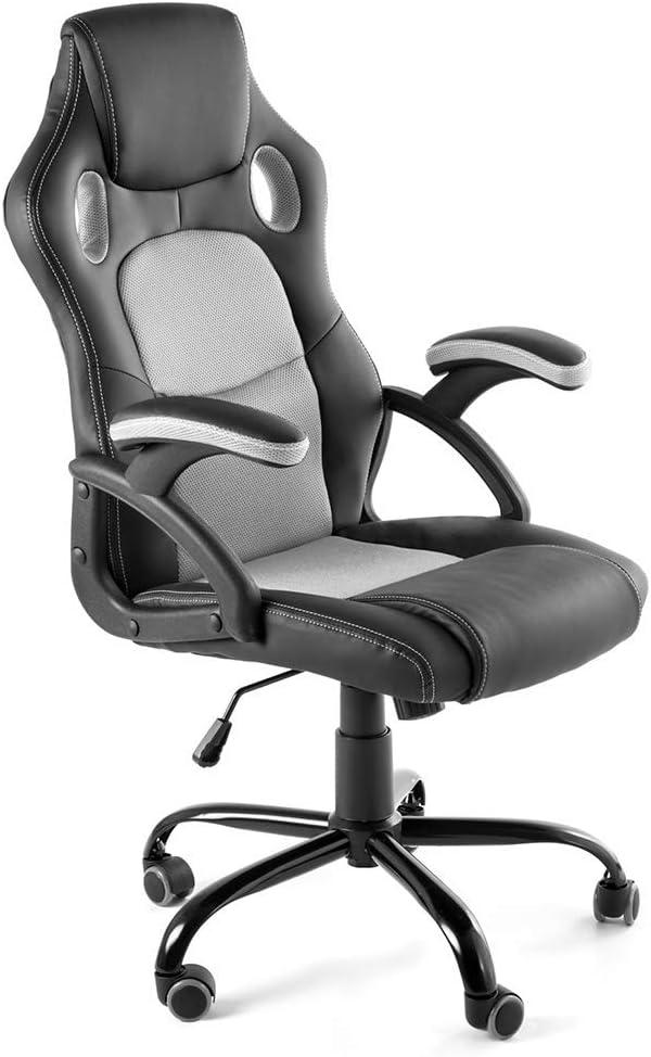 CAMBIA TUS MUEBLES - Silla Gaming X-One sillón Giratorio de Oficina despacho Escritorio, en Negro Rojo Azul y Gris (Gris)