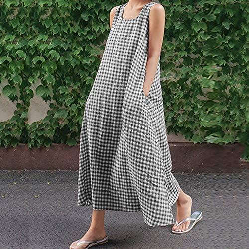 Huaheng Talla Grande Mujer Cuadros Vestido de Verano Algodón Lino Holgado Vestido Largo - Negro, 3XL: Amazon.es: Jardín