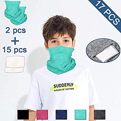 Alueeu 17PCS Kids Windproof Scarf Neck Gaiter Bandanas with Filters, Multi-Purpose Face Cover Sports/Outdoors Headwear : Office Products