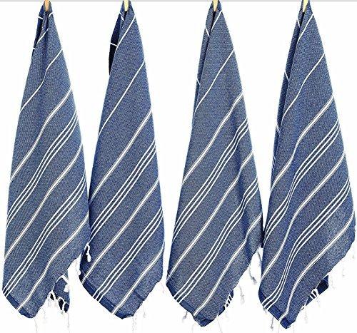 (Set of 4) Turkish Cotton Hand Face Head Gym Yoga Towel Set Wash Dish Cloths - 4 Navy ()