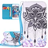 iPhone SE Case, iPhone 5S Flip Cover, ISAKEN PU Leather Cover for Apple iPhone 5 5s SE - Fashion Drawing Pattern Design Bookstyle Cell Phone Case Luxury Pu Leather Wallet Magnetic Strap Design Mobile Cover Protect Skin Stand Case Pouch with Card Holder - owl dreamcatcher