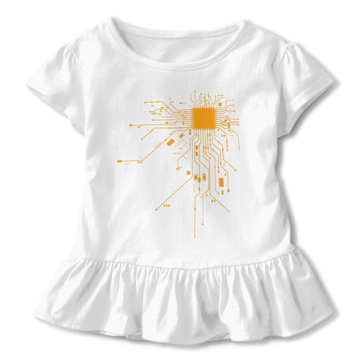 Computer Chip CPU CORE Heart Toddler Little Girl Floral Ruffled Sleeve T-Shirt Tops