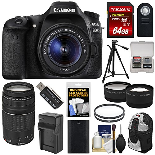Canon EOS 80D Wi-Fi Digital SLR Camera & EF-S 18-55mm is STM + 75-300mm III Lens + 64GB + Battery & Charger + Backpack + Tripod + Tele/Wide Lens Kit