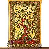 Tapestry Yellow Tree Of Life Wall Hanging Bedspreed Indian Mandala Tapestry
