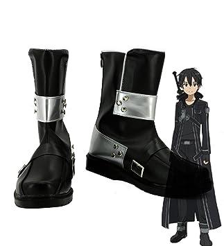 SAO Sword Art Online Anime Kirigaya Kazuto Kirito Cosplay Shoes Black Boots Custom Made