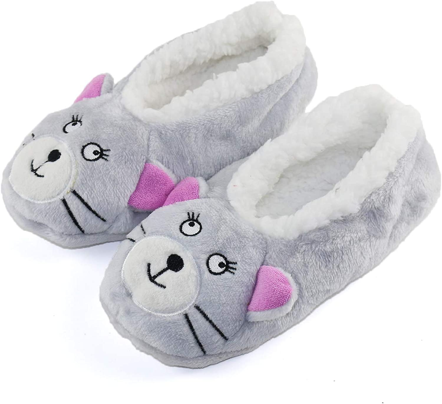 GLENMEARL Womens Warm Cozy and Lovely Animal Non-Skid Knit Home Floor Slippers Socks for Adults Girls