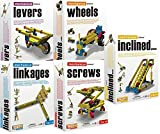 Engino STEM Mechanical Engineering Science 5 Kit Mega Bundle Kids Ages 6 to 15: Levers, Linkages, Inclined Planes, Screws, and Wheels & Axles