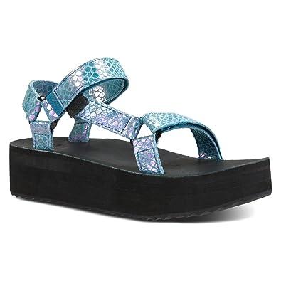 2820611a2a Amazon.com | Teva Women's Flatform Universal Iridescent Sandal | Flats