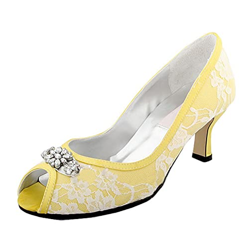 baf1f794a Minishion Womens Peep Toe Kitten Heel Flower Yellow Lace Bridal Wedding  Shoes Sandals 5 M US