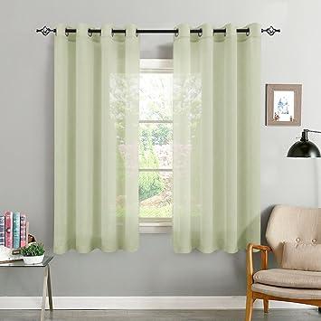 TOPICK Oliv Kurze Gardinen Vorhang für Wohnzimmer transparent mit Ösen  Ösenschal dekoschal Voile 175 x 140 cm (H x B) 2er Set