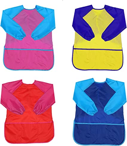 Blue /& Yellow NSNSWA Kids Art Smocks Children Waterproof Artist Painting Aprons Long Sleeve with 3 Pockets for Age 3-8 Years 2 Pack