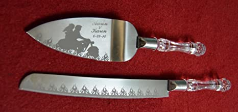 Flaming Motorcycle Biker Engraved Wedding Cake Knife / Server Set Names And  Date FREE !