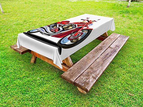 Freedom Engine (Lunarable Motorcycle Outdoor Tablecloth, Super Sexy Motorbike with Vivid Color Properties Winged Engine Machine Freedom, Decorative Washable Picnic Table Cloth, 58 X 104 inches, Red Silver)