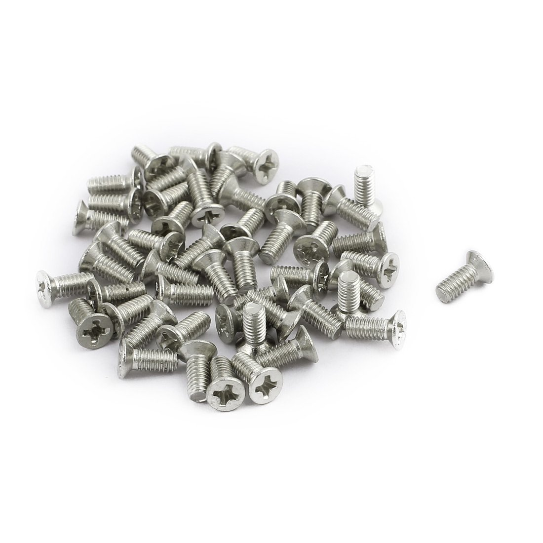 uxcell 50pcs M2.5x4mm Stainless Steel Countersunk Flat Head Phillips Machine Screws Bolts