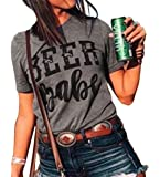 Beer Babe T Shirt Women Letters Shirt Short Sleeve with Funny Saying Casual Tee Tops