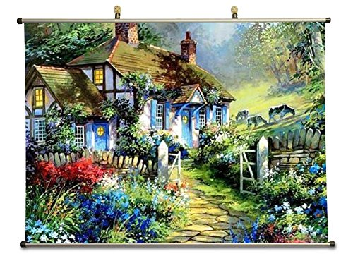 Small house in the country - Canvas Wall Scroll Poster (40x60 cm)