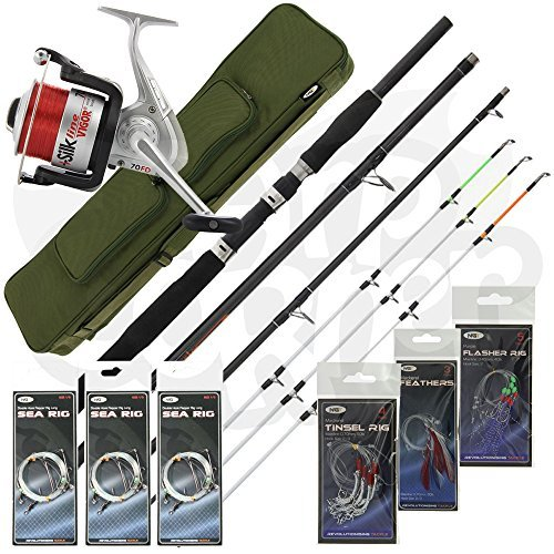Sea Fishing Travel Set Up 4 Piece Rod & Reel With Deluxe Case Carryall + Tackle Carp Corner