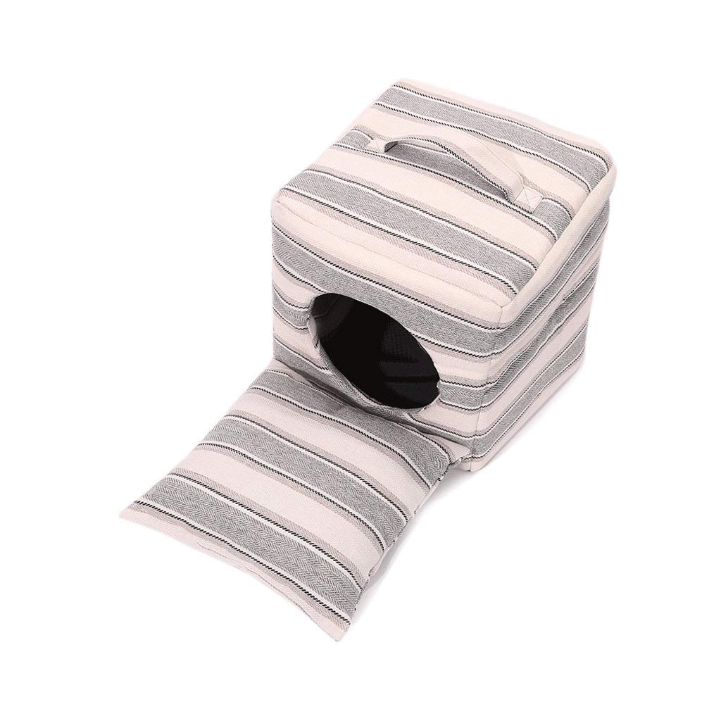 Stripe 37cm37cm37cm Stripe 37cm37cm37cm Dog Bed Plush Soft Comfortable Puppy Dog Cat House Nest,Detachable Cushion Foldable Pet Sleeping Bag Cave for Dog, Pomeranian, Teddy, Guimba, Mini Dog (color   Stripe, Size   37cm37cm37cm)