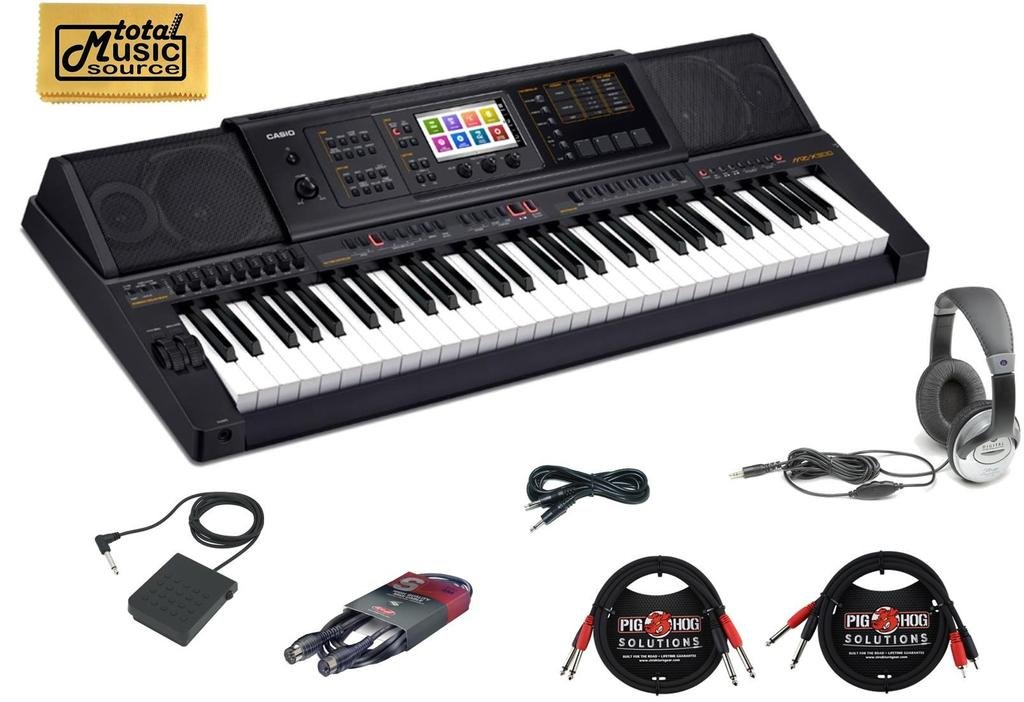 Casio MZ-X300 CABLES Arranger Keyboard 61 Key TMS Cable Bundle by Casio