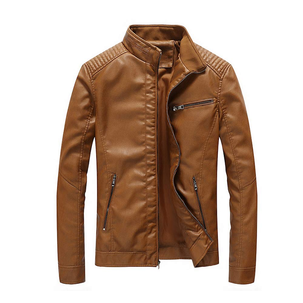 WEEN CHARM Mens Leather Jacket Stand Collar PU Faux Motocycle Jacket US-WC-PY-1301