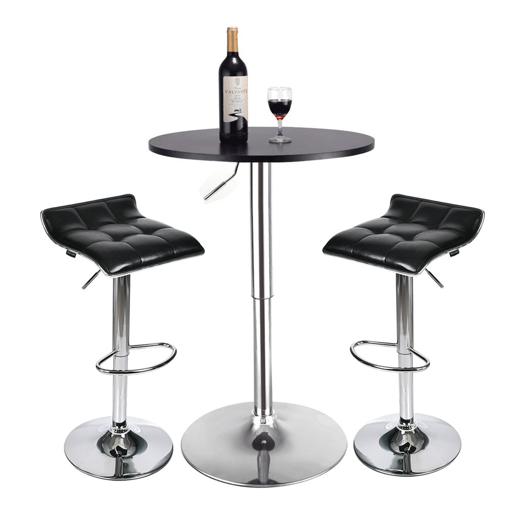 3-Piece Pub Table Set - Round Table and 2 Piece Bar Stools - Kitchen Dining Furniture Set (Black Barstool + Black Pub Table)