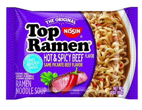 Nissin Top Ramen, Hot and Spicy Beef, 3 Ounce (Pack of 24)
