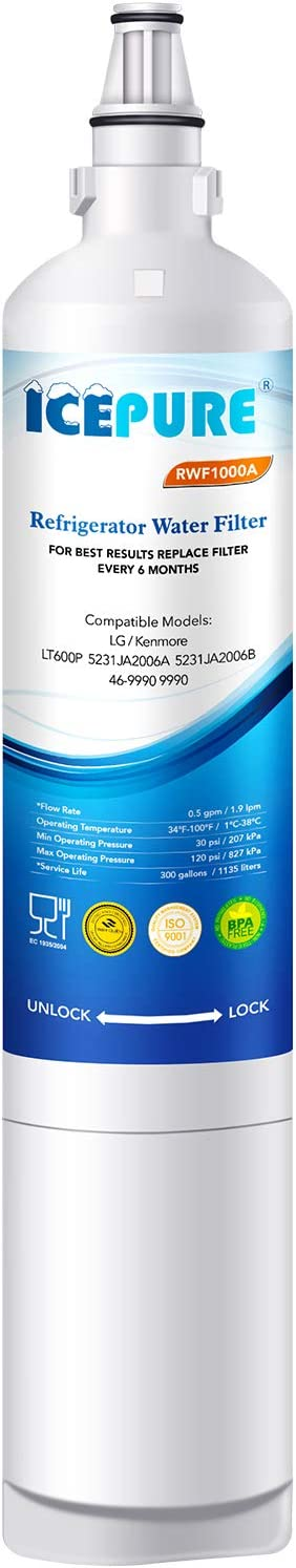 ICEPURE NSF42&372 Certified LT600P Replacement Refrigerator Water Filter, Compatible LG LT600P, 5231JA2006A, 5231JA2006B, KENMORE 46-9990, 9990, 469990, RWF1000A 1PACK