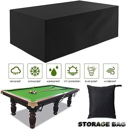 SJMDZZ Tela Oxford Impermeable Prueba de Polvo Funda de Protección de Mesa de Tamaño Completo Piscina/Billar/Snooker 7FT / 8FT / 9FT Cubierta de Mesa Funda de Muebles de Jardín Negro: Amazon.es: Hogar