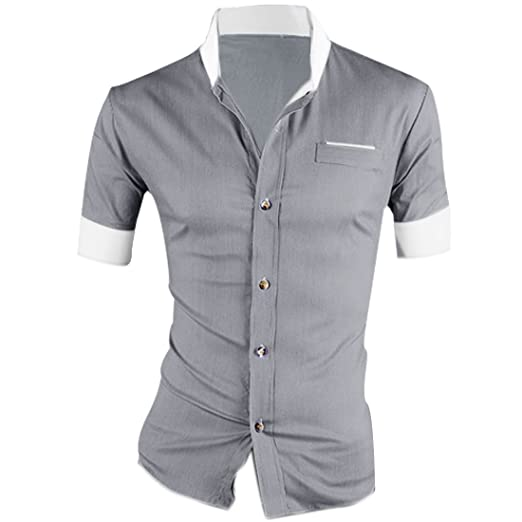 2 opinioni per Allegra K Uomo Maniche Corte Slim Fit Camicia Button Down