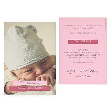 Greetinks 10 X Taufkarten Tauf Bild In Rosa Personalisierte Taufeinladungen Zum Selbst Gestalten 10 Stück Einladungskarten Zur Taufe Von Baby