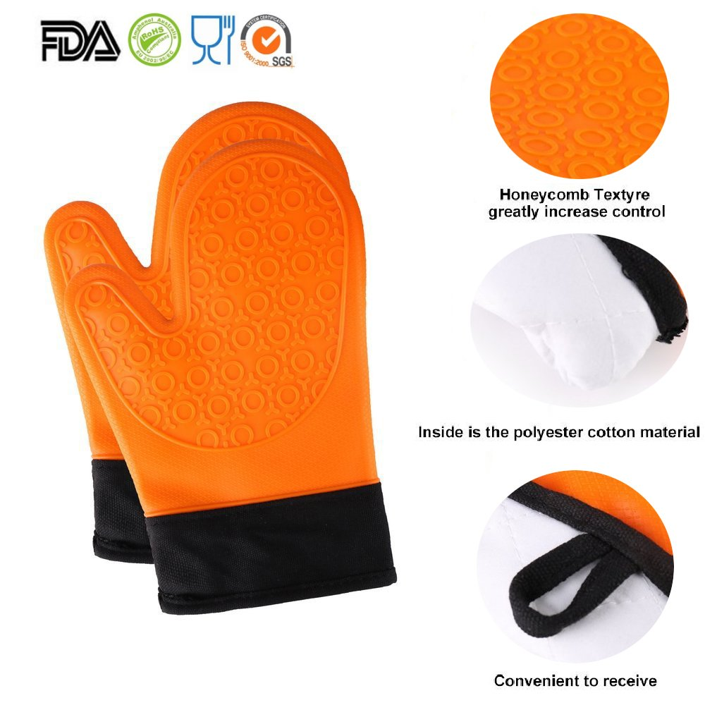 for Kitchen Grilling Cooking and Baking/& 2 Free Bonus Items-Brush /& Pot Holder 1 Pair TOPBRY COMINHKPR124250 Heat Resistant Silicone Oven Gloves Non-Slip 28 x 17 x 2.8 cm, Green