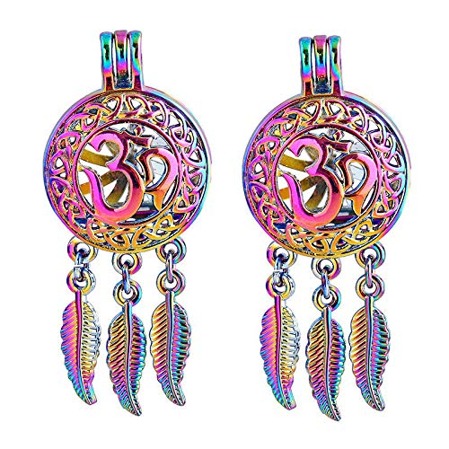 5X Rainbow Dream Catcher 3D Pearl Cage Round Locket Pendant For DIY Necklace]()