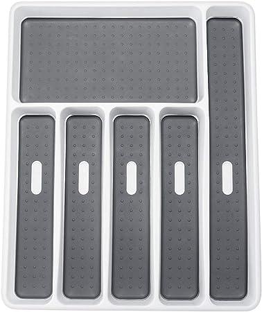 Konesky Porta Cubiertos, Cocina Cajón Organizador Cuchara Tenedor Separación Vajilla Bandeja Caja de Almacenamiento de Plástico para Escritorio de Cocina y Armario (6 compartimentos, 1 pieza): Amazon.es: Hogar