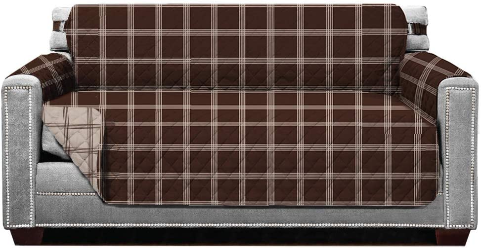 Sofa Shield Original Patent Pending Reversible Loveseat Protector, Many Colors, Seat Width to 54 Inch, Furniture Slipcover, 2 Inch Strap, Couch Slip Cover Throw for Pets, Dogs, Plaid Chocolate Beige