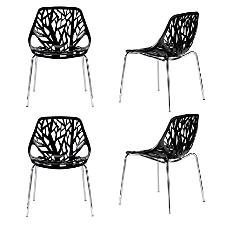 Stupendous Amazon Com Fancy Dining Chairs Set Of Four Black Abstract Uwap Interior Chair Design Uwaporg