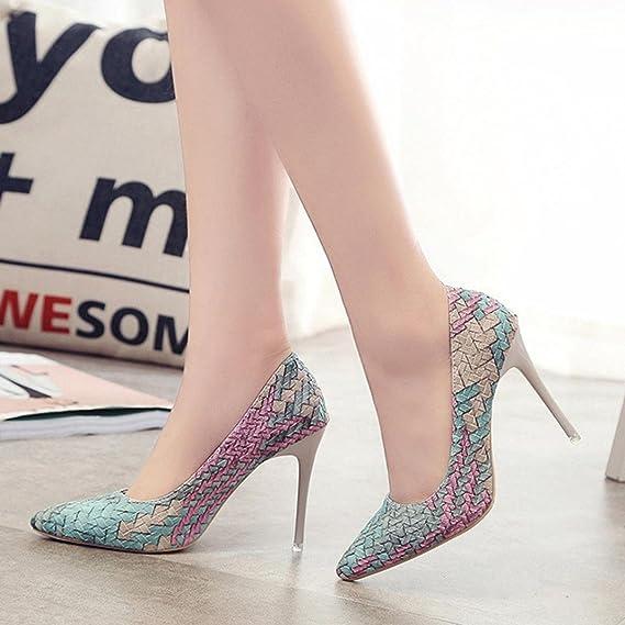 Tacones de mujer Covermason Moda tacones finos Zapatos colores mezclados Tacones bajos Zapatos(37 EU, Azul): Amazon.es: Ropa y accesorios