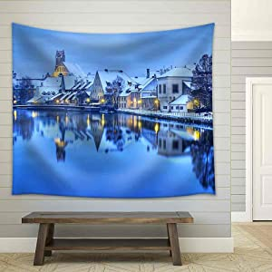 wall26 - Winter Evening in Landshut, German Town Near Munich, Germany - Fabric Wall Tapestry Home Decor - 68x80 inches