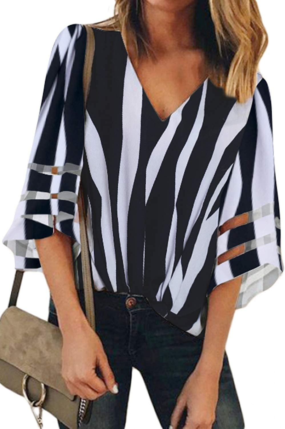Roskiky Womens 3//4 Bell Sleeve V Neck Blouse Mesh Panel Loose Casual Tops Shirt