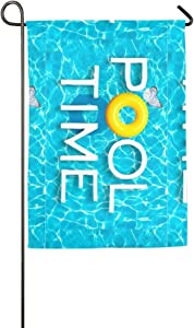 Hopes's Garden Flag Welcome to Summer Pool Spring Summer Decorative House Small Decor Flags for Indoor Outdoor Decoration,12 X 18 Inch