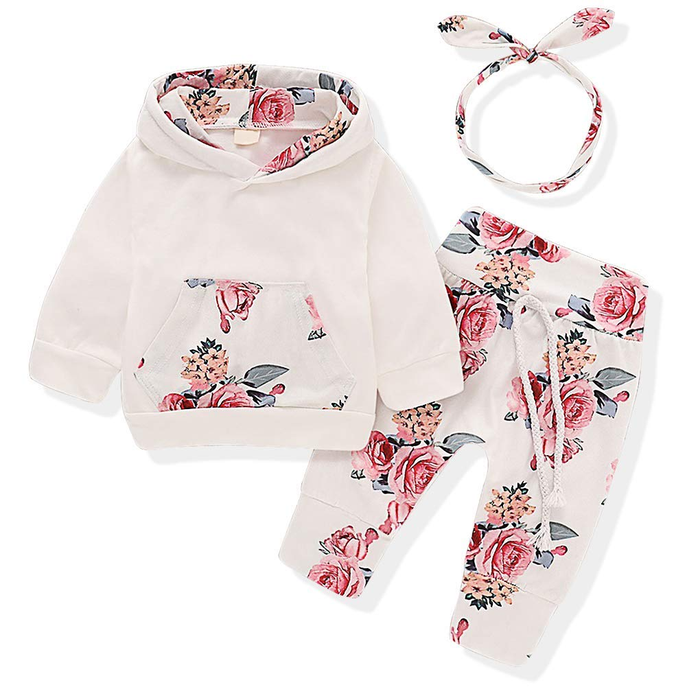 Edjude Newborn Baby Girls Clothes Sets 3 Pieces Outfits Long Sleeve Romper Jumpsuit T-Shirt Headband Floral 0-24 Months