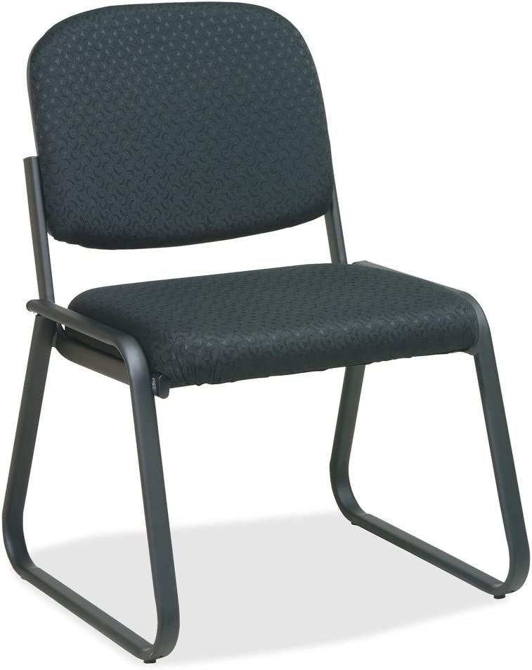 Office Star Deluxe Sled Base Fabric Visitors Chair with Designer Plastic Shell Back, Midnight Black