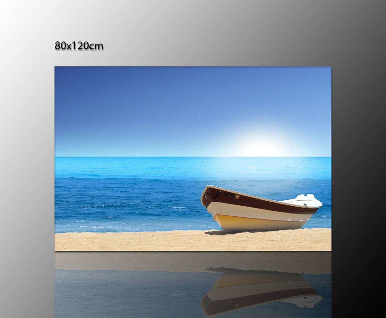 Amazon.de: Boot am Strand - Leinwand auf Keilrahmen Wandbild (playa ...