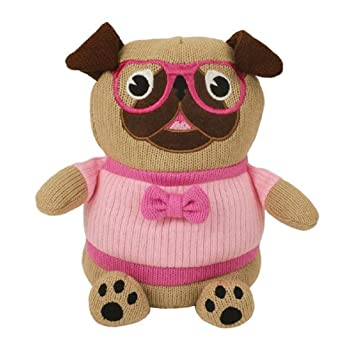 Aroma Home Lavender Pug Microwaveable Knitted Cosy Friend W14Cm, H22.5Cm, D13Cm Multi