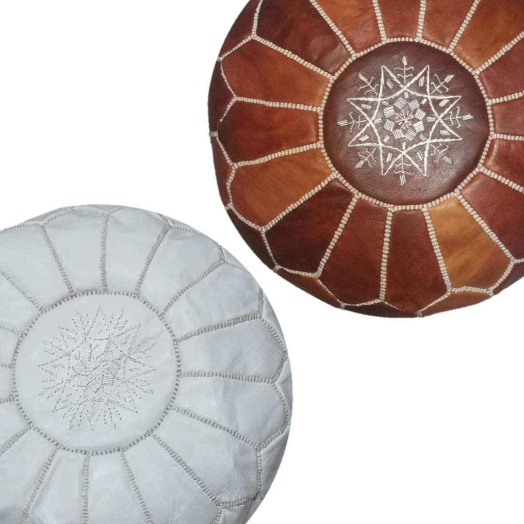 set of 2 premium handmade leather moroccan pouf ottoman round modern coffee table poofs White and dark almond Unstuffed