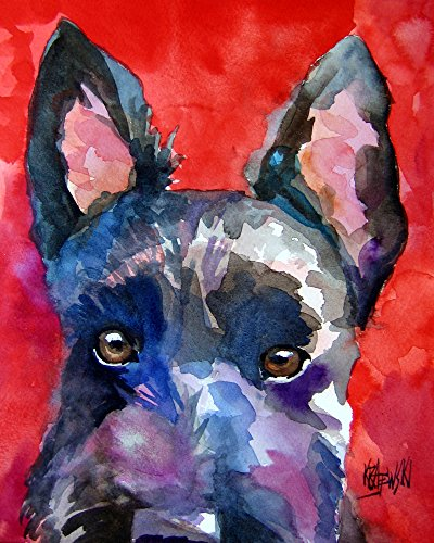 Scottish Terrier Scottie Dog Fine Art Print on 100% Cotton Watercolor Paper (Art Dog Scottish Terrier)