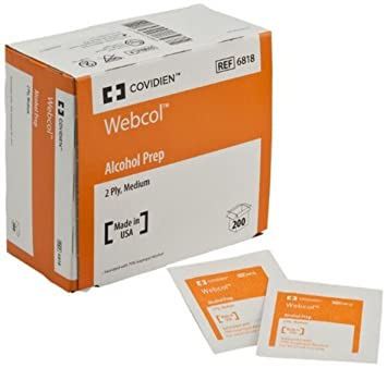 Kendall/Covidien Webcol Alcohol Medium Prep Pads (6 BX of 200 totaling 1200)