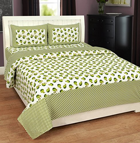 Super India 140 TC Designer Green Double Bed Sheet with two pillow cover (3 pcs)