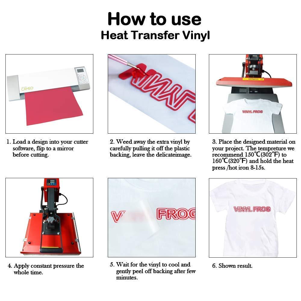 VINYL FROG 10x12ft White Heat Transfer Vinyl Iron on Vinyl by Cameo for Tshirt