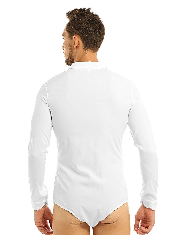 YiZYiF Uomo Camicia Body da Danza Latino Moderno Glitter Ballo Paillettes Camicietta a Manica Lunga Slim Fit T-Shirt Dancewear Tango Pratica Prestazione Competizione Festa